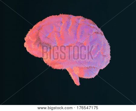 Furry brain illustration with pastel color style on dark background
