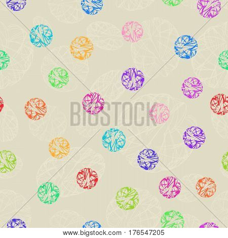 Seamless Colorful Decorative Ornament Polka Dot. Continuous Pattern Colored Circles on Light Beige Background for Fabric Textile Wrapping Paper.