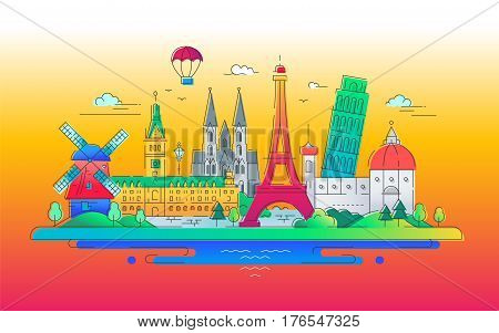 Vector illustration of flat design composition with famous european landmarks icons