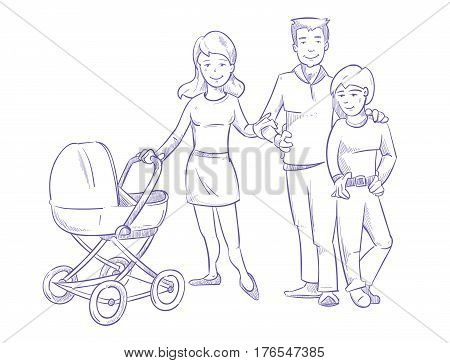 Happy young family with child and baby in stroller, hand drawn, pen sketch vector. Character sketchy mother and father with son, illustration of happy family cartoon