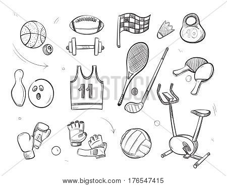 Hand drawn sketch sports fitness equipment vector doodle icons. Sketch of sport and fitness equipment, ball for game and weight for sport gym illustration
