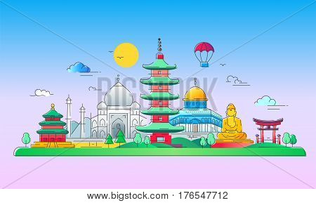 Asian Countries - modern vector line travel illustration. Discover India, Japan, France, Israel. Have a trip, enjoy your vacation. Be on a journey. See landmarks like buddha , torii, mosque, taj mahal