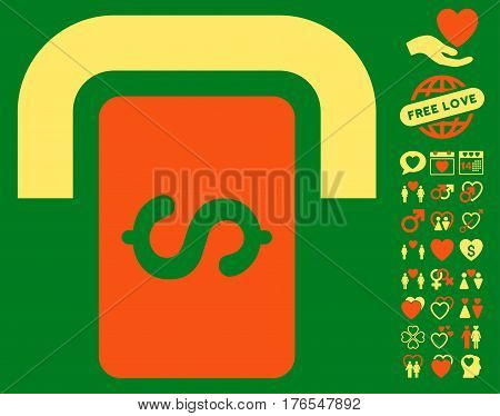 Cashpoint Terminal icon with bonus valentine icon set. Vector illustration style is flat iconic symbols on white background.
