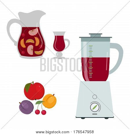 Blender and fruits isolated on white background. Also there is a pitcher and a glass with multivitamin juice in the picture. Vector flat illustration.