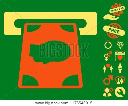Cashpoint icon with bonus romantic images. Vector illustration style is flat iconic symbols on white background.