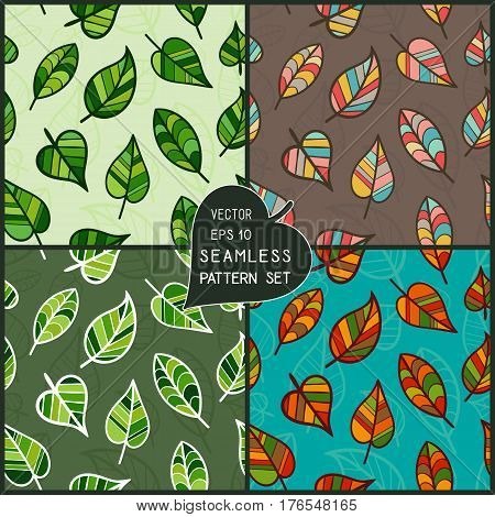 Set of Colorful Seamless Patterns of Hand Drawn Leaves. Collection Continuous Background with Leaves of Tree for Cloth Fabric Textile Pack Paper Wrapping Paper. Leafy Patterned Motifs.