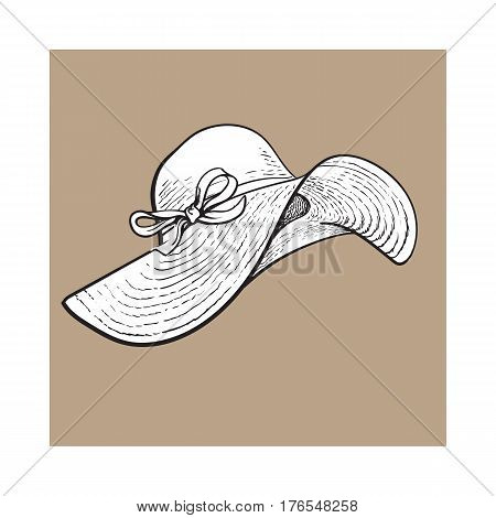 Fashionable straw hat with wide flaps, summer vacation attribute, sketch vector illustration isolated on brown background. Hand drawn floppy straw hat, symbol of summer vacation
