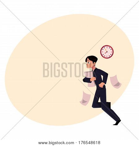 Young businessman hurrying to work holding papers, losing documents, being late, cartoon vector illustration with place for text. Businessman, worker, employee harrying to work