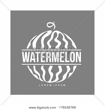 monochrome logo template with side view of stylized striped watermelon, vector illustration isolated on grey background. Watermelon logotype, logo design with graphic, stylized whole watermelon