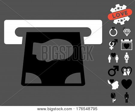 ATM Payment icon with bonus amour pictograms. Vector illustration style is flat iconic symbols on white background.