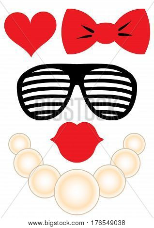 Party accessories woman set - glasses, necklace, lips, heart, bow - for design, photo booth, scrapbook in vector