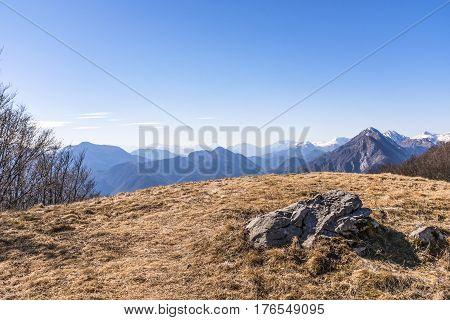 View from Monte San Simeone in Friuli-Venezia Giulia to Julian Alps in Slowenia