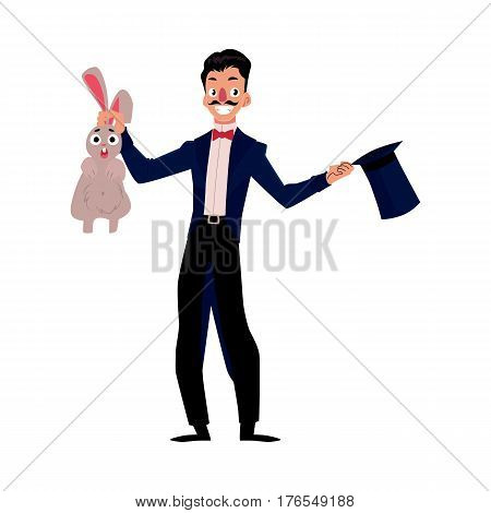 Magician, illusionist conjuring rabbit out of hat, artist performer, cartoon vector illustration isolated on white background. Magician in black suit with hat and rabbit, circus performance