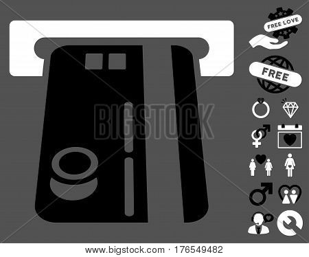 Bank ATM pictograph with bonus marriage icon set. Vector illustration style is flat iconic symbols on white background.