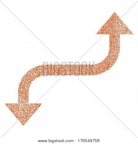 Opposite Curved Arrow vector textured icon for overlay watermark stamps. Fabric orange vectorized texture. Symbol with dust design. Rubber seal stamp with fiber textile structure.