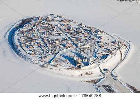 Sviyazhsk. Tatarstan. Russia - February 03, 2017: the island-town of Sviyazhsk from above during flight in cold winter day