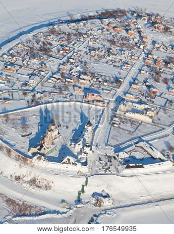 Sviyazhsk. Tatarstan. Russia - February 08, 2017: the  island-town of Sviyazhsk from above during flight in cold winter day