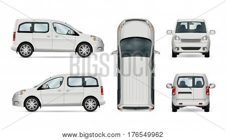 White service car template. Vector commercial vehicle isolated on white background. All elements in the groups have names the view sides are on separate layers for easy editing. View from side back front and top.