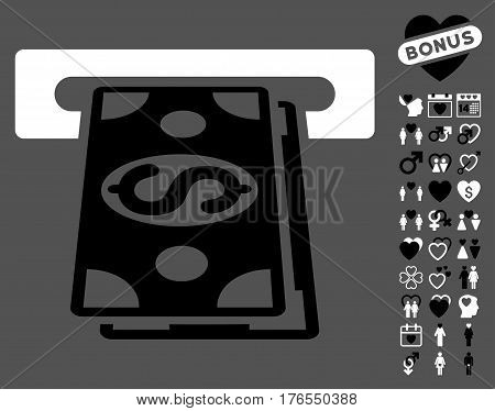 Cash Withdraw pictograph with bonus decoration pictograph collection. Vector illustration style is flat iconic symbols on white background.