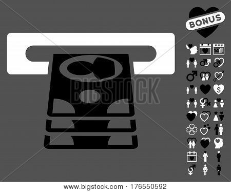 Cashpoint pictograph with bonus lovely symbols. Vector illustration style is flat iconic symbols on white background.