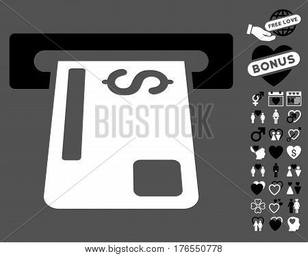 Payment Terminal pictograph with bonus marriage pictograph collection. Vector illustration style is flat iconic symbols on white background.