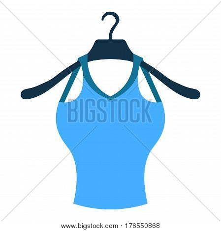 Coat Hanger With A Blue Shirt. Vector Illustration