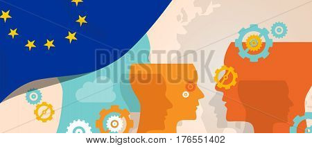 Europe concept of thinking growing innovation discuss country future brain storming under different view represented with heads gears and flag vector