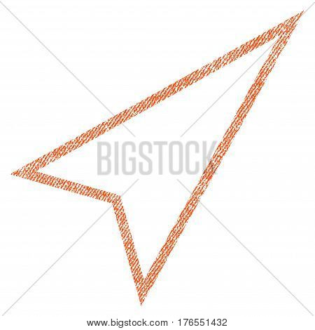 Pointer Right Up vector textured icon for overlay watermark stamps. Fabric orange vectorized texture. Symbol with scratched design. Rubber seal stamp with fiber textile structure.