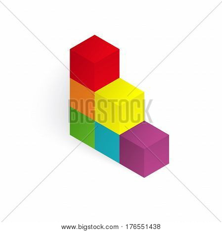 Vector 3d illustration color cubes, design with perspective effect poster