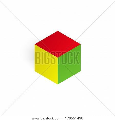 Vector 3d illustration color cube, design with perspective effect