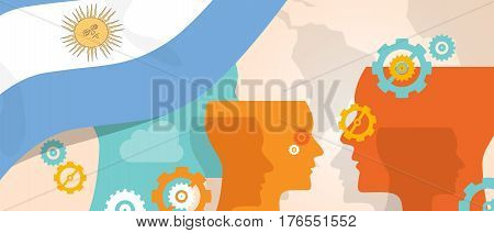 Argentina concept of thinking growing innovation discuss country future brain storming under different view represented with heads gears and flag vector