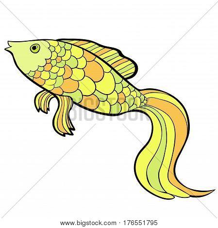 Fish Cartoon A Gold Cute  Vector Illustration