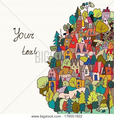 Card or banner with houses and forest - funny style vector graphic illustration