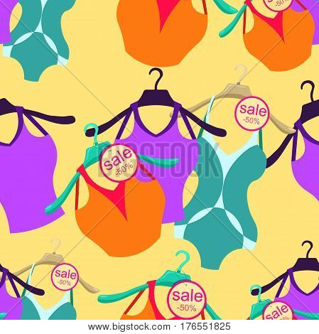 Seamless Pattern Coat Hanger With A Bathing Suit, T-shirt. Vector Illustration