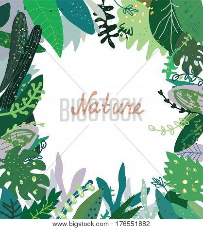 Nature background with wild plants - frame design vector graphic illustration