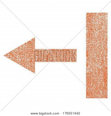 Pull Left vector textured icon for overlay watermark stamps. Fabric orange vectorized texture. Symbol with scratched design. Rubber seal stamp with fiber textile structure.