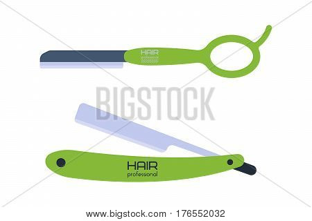 Vector illustration of scissor on white background trim equipment template steel blade metal sign and barber silhouette salon work blade for shaving. Style hairdresser tailor tool.