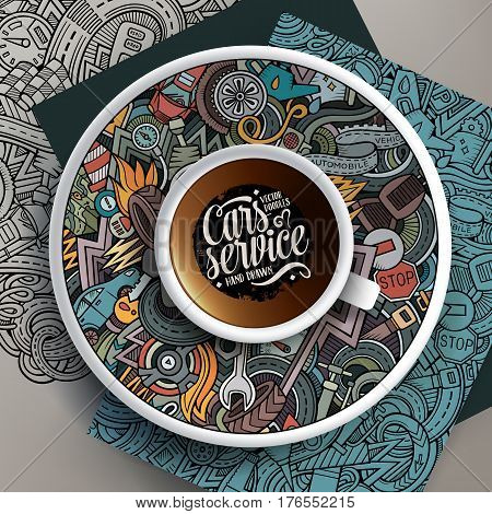Vector illustration with a Cup of coffee and hand drawn Automobile doodles on a saucer, on paper and on the background