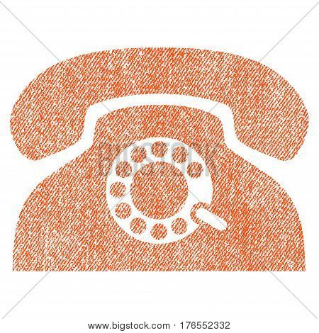 Pulse Phone vector textured icon for overlay watermark stamps. Fabric orange vectorized texture. Symbol with unclean design. Rubber seal stamp with fiber textile structure.