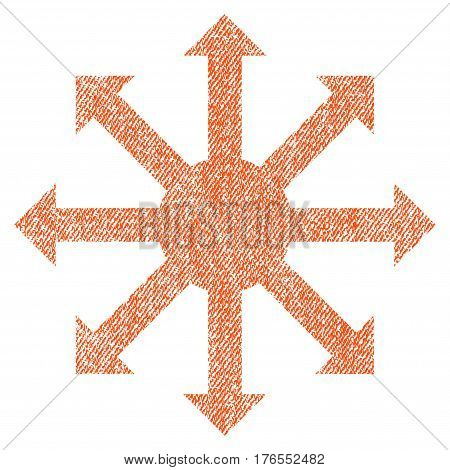 Radial Arrows vector textured icon for overlay watermark stamps. Fabric orange vectorized texture. Symbol with dirty design. Rubber seal stamp with fiber textile structure.