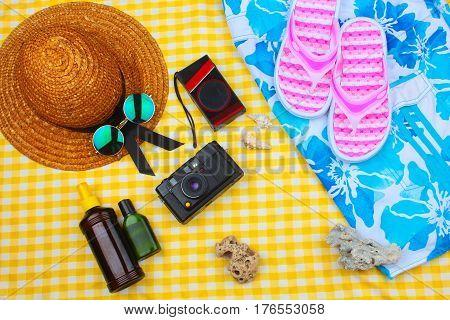 Beach Time Summer Travel Kit Featuring Sleepers, Bikini, Radio, Sun Lotion, Lotion, Hat & Camera