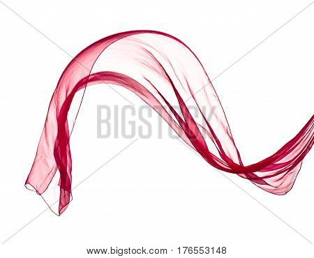 Red Scarf In The Wind , Isolated On White