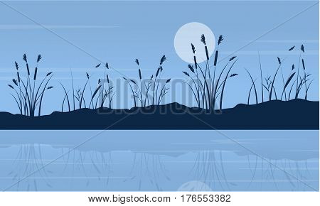 At night lake scenery with moon vector art