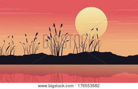 Silhouette of lake with coarse grass landscape vector art
