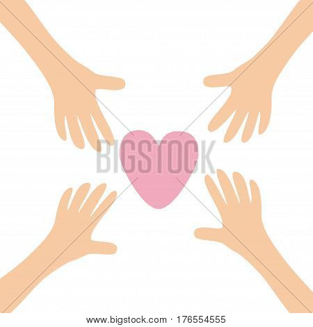 Four Hands arms reaching to big pink heart shape sign. Helping hand. Close up body part. Happy Valentines day. Greeting card. Flat design. Find love concept White background. Isolated. Vector