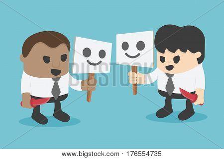 Fake businessman holding a knife smile . vector illustration