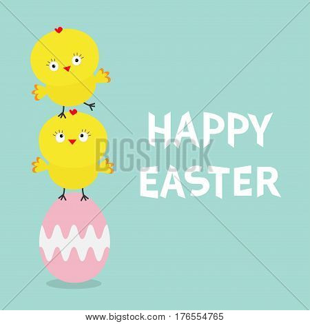 Two baby chick bird friends standing on painting pink egg. Happy Easter Chicken pyramid family set. Farm animal. Cute cartoon funny character. Greeting card. Blue background. Flat design. Vector