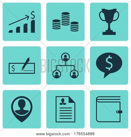 Set Of 9 Human Resources Icons. Includes Business Deal, Bank Payment, Wallet And Other Symbols. Beautiful Design Elements.