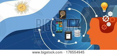 Argentina IT information technology digital infrastructure connecting business data via internet network using computer software an electronic innovation vector