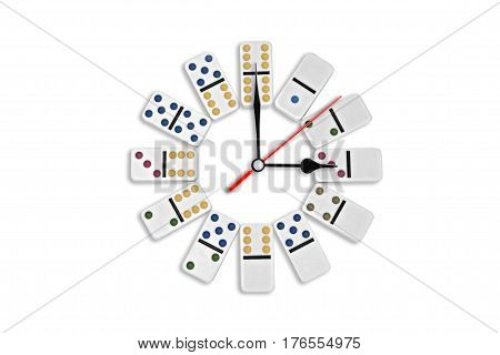 Round office clock, white dominoes principle on white